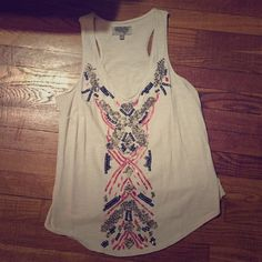 Patterned Tank Great condition! All beads/sequins in tact! Ecoté from Urban Outfitters. Urban Outfitters Tops Tank Tops