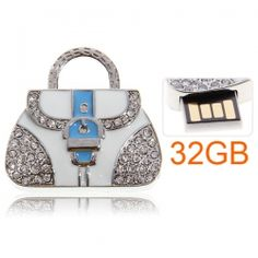 32GB Noble Bag Flash Drive Memory Push-Pull U Disk with Artificial Rhinestone