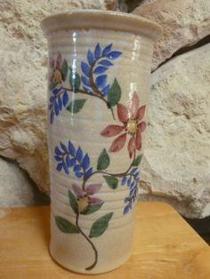 Dover #Pottery North #Carolina Flower art cylinder vase 1989 #signed Fred Johnsto,  View more on the LINK: 	http://www.zeppy.io/product/gb/3/268465558/