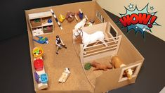 Easy Schleich Barn DIY, Crafting a Schleich Stable. Hello all :D In this video, we are crafting another Schleich stable from crafting sticks and a shoe box. This Schleich stable is made up of two horse stalls, a cupboard to store horse stable stuffhorses Barn Crafts, Horse Crafts, Craft Stick Crafts, Diy Crafts, Toy Horse Stable, Horse Stables, Horse Barns, Schleich Horses Stable, Breyer Horses