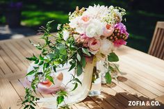 Soiree Floral bohemian bouquet, Nantucket wedding by Zofia and Co. Photography