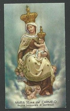 santino de la Madonna del Carmine image pieuse holy card estampa I Love You Mother, Mother Mary, Madonna, Mont Carmel, Lady Of Mount Carmel, Roman Church, Mama Mary, Holy Mary, Art Thou