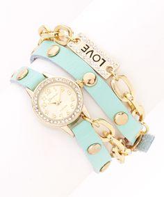 Gold & Mint Sparkle Chain Wrap Watch