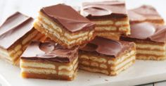 These easy caramel and chocolate layered cracker toffee bars are a twist on a traditional cracker toffee Triple-Layer Cracker Toffee Bars  Save Print Ingredients 90 buttery rectangular crackers (from 13.7-oz box) 1 can (14 oz) sweetened condensed milk (not evaporated) 1 cup packed brown sugar ½ cup butter ¼ cup milk 1 bag (11.5 …