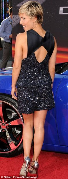 Elsa Pataky gorgeous legs in a short glitter dress and silver heels at Fast 6
