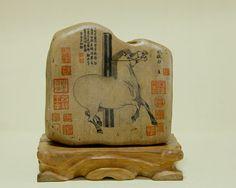 石趣部落原创手绘石头 创意礼物 国画 照夜白-淘宝网