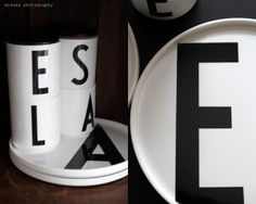 Plates and mugs of Design Letters with Arne Jacobsen typography