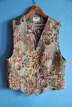 Vintage tapestry vest 90s floral vest Boho vest flower