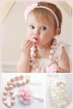 Cake Smash Outfit | Lace Romper, Bubblegum necklace and Headband | Baby Girl Cake Smash | Birthday  #ad #etsy