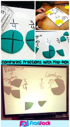 Using pizza Play-Doh to compare fractions - worked great on white boards, and we found out that protractors make great pizza cutters!
