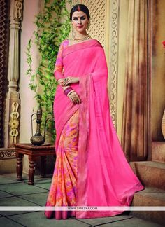 Real beauty will come out of your dressing design with this hot pink georgette printed saree. The ethnic print work in the dress adds a sign of beauty statement with a look. Comes with matching blouse...