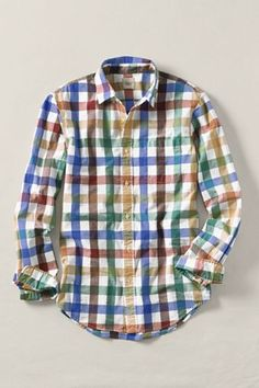 Men's Multi-Check Poplin Shirt, Lands End Canvas Spring 2012