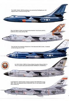 """Douglas SKYWARRIOR >>> carrier-based strategic bomber, nicknamed """"The Whale"""". Was used as an electronic warfare platform, tactical air reconnaissance platform, and high capacity aerial refueling tanker Us Military Aircraft, Navy Aircraft, Military Jets, Navy Marine, Us Navy, Douglas Aircraft, Aircraft Painting, Armada, Aircraft Design"""