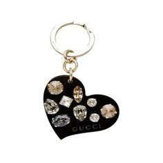 GUCCI  Gucci Black Plexiglass Heart Key Ring Charm with Swarovski Crystals 354361