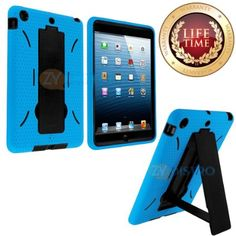 myLife (TM) Sky Blue + Black Shockproof Survivor (With Built In Kickstand) Durable Case for Apple iPad Mini Touch Tablet (Soft and Flexible ...