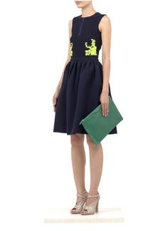 PREEN - Neon embroidered flared skirt dress | Multi-colour Cocktail Dresses | Womenswear | Lane Crawford