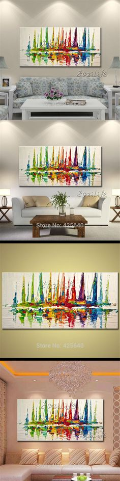 Canvas oil painting Hand painted modern abstract boat ship sailing yacht ,Wall  Pictures for living room home decor art wall