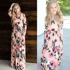 Mom and daughter matching summer dresses – Fabulous Bargains Galore Mommy And Me Outfits, Girl Outfits, Mom And Daughter Matching, Girls Dresses, Summer Dresses, Maxi Dresses, Floral Print Maxi Dress, Little Doll, Matching Family Outfits