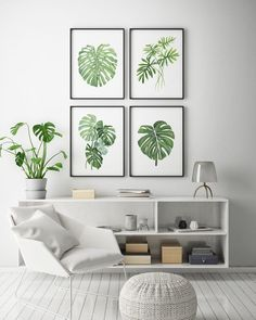 Monstera Leaf Watercolor Art Botanical Art Print Minimal - Botanical Art Print Minimal Wall Art Watercolour Plant Tropical Leaf Art Set Of Tropical Leaf Print Set Monstera Leaf Tropical Art Print Watercolor Print Printable Art Tropical Decor Botanic Sala Tropical, Tropical Home Decor, Tropical Houses, Tropical Furniture, Tropical Interior, Tropical Plants, Wall Art Sets, Wall Art Decor, Green Kitchen Decor
