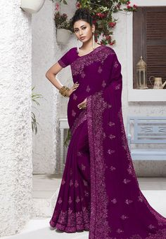 Buy Violet Chiffon Festival Wear Saree 204561 with blouse online at lowest price from vast collection of sarees at Indianclothstore.com.