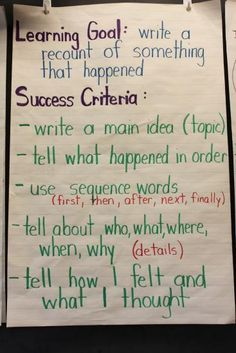 Recount writing learning goal and success criteria Assessment For Learning, Learning Targets, Learning Goals, Learning Objectives, Formative Assessment, Writing Strategies, Writing Lessons, Writing Resources, Writing Activities