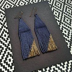 Blue Jean Baby..24Kt Gold Beaded Minimalistic Earrings