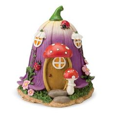 Create a magical fairy garden & enjoy special savings with HearthSong's Fairy Village that includes 5 hand-painted Nature Fairy Houses & 10 nature fairies! Clay Fairy House, Fairy Garden Houses, Fairy House Cake, Fairy Gardens, Polymer Clay Fairy, Polymer Clay Crafts, Fairy Crafts, Diy And Crafts, Fairy Village