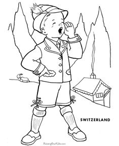 switzerland coloring pictures for kids - Bing images Free Kids Coloring Pages, Coloring Pictures For Kids, Coloring Pages To Print, Coloring Pages For Kids, Coloring Sheets, Shopkins Colouring Pages, Multicultural Crafts, Kids Around The World, World Thinking Day