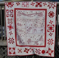 Winter Wonderland Quilt, Embroidery and hand quilting by David Haynes, Piecing by Maureen Haynes. A Crabapple Hill Design http://quiltville.blogspot.ca/2014/12/a-very-merry-happy-holiday-linky-party.html