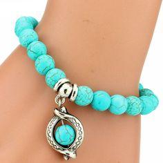 Vintage Turquoise Charm Bracelet For Women
