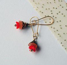 Vintage-Look Coral Rose - Earrings