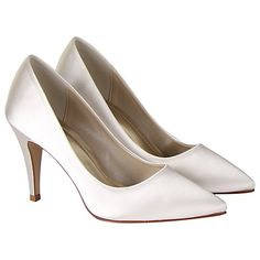 Buy Rainbow Club Vivian Satin Point Toe Court Shoes, Ivory Online at johnlewis.com