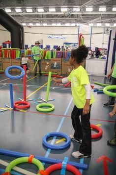 """Oodles of Fun with Pool Noodles.  A """"how-to"""" blog to create fun movement games for kids! #BLENDCentralMN"""