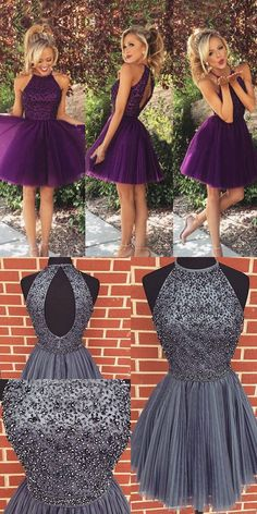 short party dresses, short open back prom dresses.vestidos
