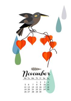 my printable 2012 calender with animals and birds  http://www.etsy.com/listing/87948201/limited-edition-printable-illustrated