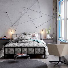 Absolutely love this bedroom setup. Would be great to have that low-profile headboard for the master bedroom alchemy matte black bed  | CB2