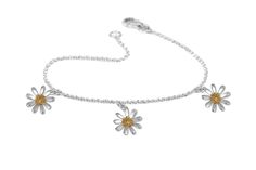 Daisy Bracelet - Sterling Silver with Gold Plating