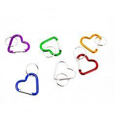 Chaveiro Mosquetão em Forma de Coração Pequeno - Pacote com 12 Unidades