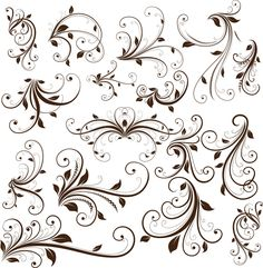 Collection of beautiful vector floral swirls and decorations. Free Vector Graphics, Free Vector Art, Art Design, Design Elements, Swirl Design, Tree Tattoo Designs, Tattoo Ideas, Tattoo Tree, Illustrations Vintage
