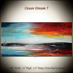 """Original Modern Art Seascape Oil Painting on canvas ready to hang 48"""" x 24"""" Painting"""