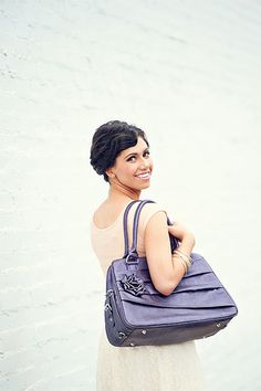 """Jo Totes """"Rose"""" camera bag! In sugarplum with black & white floral lining...love it"""