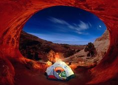 20 Places To Go Camping - Arches National Park, Utah - Home of over 2000 natural sandstone arches and a plethora of wildlife including the peregrine falcon and technicolored lizards. Get all the information you need about going camping at Devils Garden Campground here. 2. Miyajima, Japan 3. Sahale Glacier Camp, Washington 4. Campervanning in New Zealand (16 more at the link):