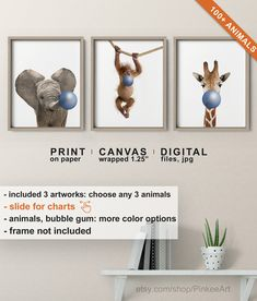 Animals with Bubble Gum Printed, Safari Kids Room Decor, Girls or Boys Playroom Art, Nursery Animals, Baby Jungle Animals Blowing Bubbles Monkey Nursery, Animal Nursery, Nursery Art, Bohemian Baby, Blowing Bubbles, Safari Kids Rooms, Kindergarten, Playroom Art, Chewing Gum