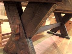 """Handcrafted Rustic Viking Dining Table - 40""""x97"""" - Wood from the bridge at Deep Well Ranch in West Yellowstone"""