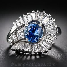 Mid-Century Sapphire and Diamond Cocktail Ring - 30-1-1648 - Lang Antiques