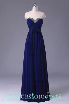 Long Blue Prom Dress/Long Beaded Bridesmaid Dress/Peach Red Grey Black Chiffon Evening Dress/Homecoming Dress/Graduation Dress/Formal Dress