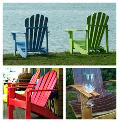 Adirondack chairs with easy-to-add wine holders. Love the color ideas. Outdoor Fun, Outdoor Chairs, Outdoor Decor, Spite House, Salon Chairs For Sale, Wine Glass Holder, Wine Holders, Cozy Patio, Metal Chairs