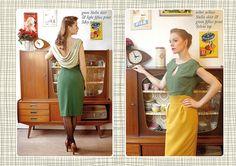 RED JULIET green stella skirt & light fifties print May top, ocher yellow Stella skirt & green fifties print Sylvia top