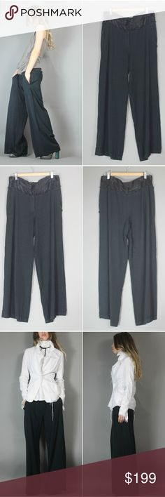 "Ann Demeulemeester Black Oversized Baggy Pant Flowy avant garde distressed slouchy wide leg black trouser pants  Ann Demeulemeester tag size 38 US 6/M. approx meas: waist 17.5"" across. hip 23.5"" inseam 30"" shown on 5'8"" sz 4.  These def have an oversized fit. Interesting cut - interior buttons -not sure if they have some creative use. ;) Some raw fray by design. Distressed. Some minor imperfections to the fabric (zoom on pics) doesn't detract IMO because the style is so raw/distressed…"
