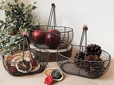 3 cestas de alambre Oval de almacenamiento de marrón rústico Trugs huevos mango de madera